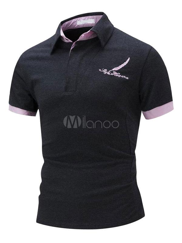Black Polo Shirts Logo Print Summer Tee Shirt Top Men'S Short Sleeve T Shirt