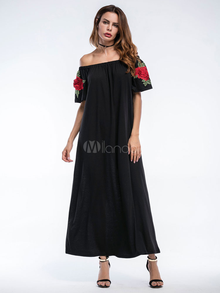 Buy Black Maxi Dress Off The Shoulder Short Sleeve Floral Embroidered Long Dress for $22.49 in Milanoo store
