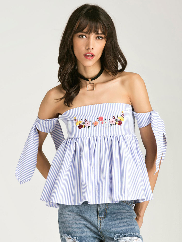 54ae7b65335b5 ... Cotton Bardot Top Off The Shoulder Embroidered Shirred Strappy Tie  Flare Ruffles Women s Blue Striped Blouse ...