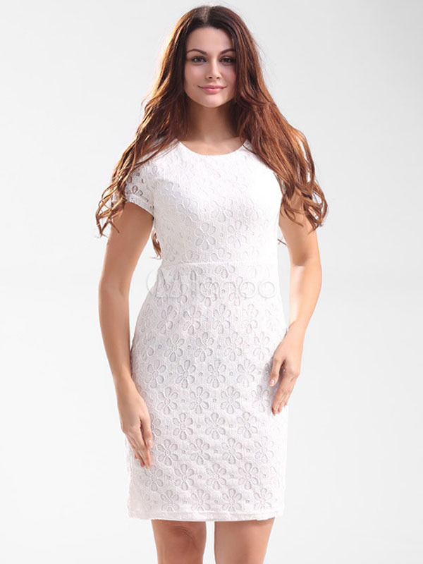 Buy White Lace Dress Round Neck Short Sleeve Slim Fit Sheath Dress For Women for $23.74 in Milanoo store