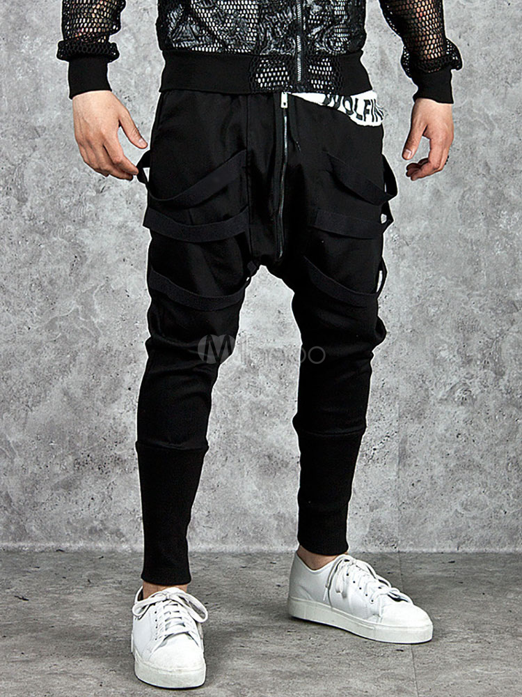 Black Harem Pants Men's Ribbons Decor Casual Long Pants