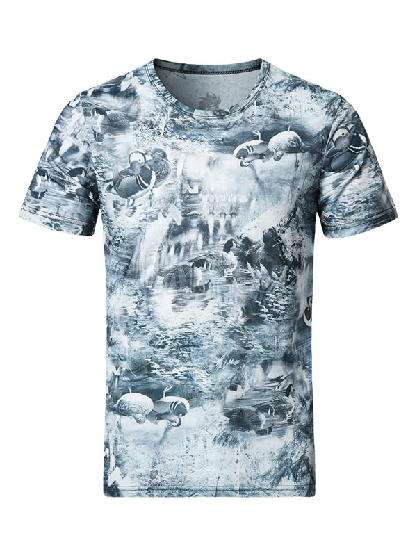 Buy Men's T Shirt Illusion Blue Round Neck Short Sleeve Printed Regular Fit Casual Top for $17.99 in Milanoo store