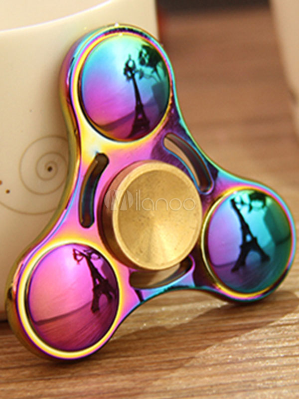 Buy Finger Fidget Spinner Alloy Rainbow Color Hand Toys Triangle Stress Reducer Personalized Valentines Gifts for $14.39 in Milanoo store