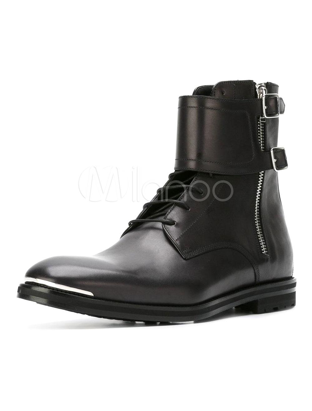 Black Martin Boots Cowhide Metallic Buckled Round Toe Zipper Men's High Top Boots