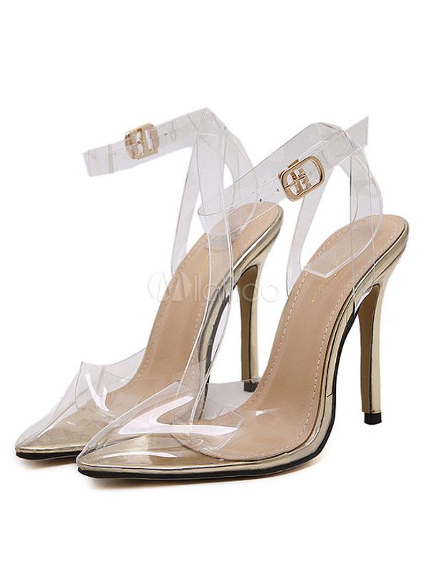 wundersch ne high heels aus pu transparenz mit justierbarem band f r abend pumps 11cm mit. Black Bedroom Furniture Sets. Home Design Ideas