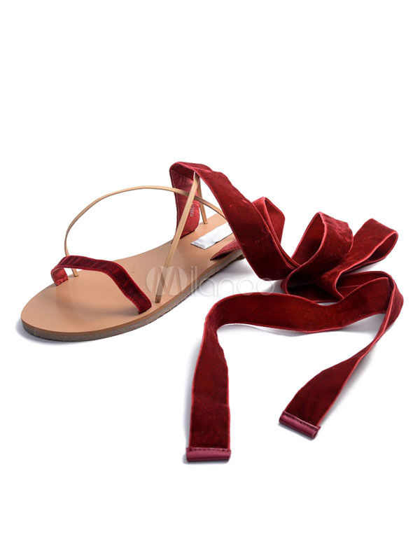 Buy Burgundy Flat Sandals Corduroy Strappy Tie Leg Women's Chic Sandal Shoes for $28.49 in Milanoo store