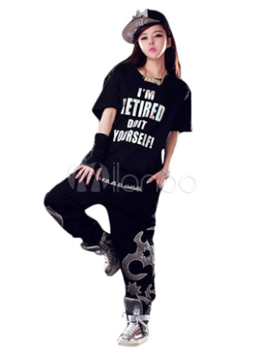 Black Dance Costume Hip Hop Clothing Costumes In 2 Piece Set No1
