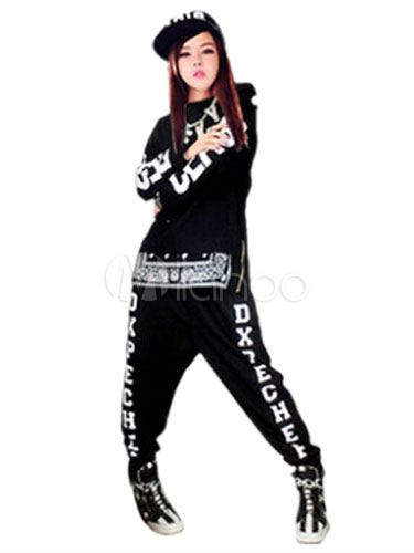 Hip Hop Clothing Dance Costumes Black Printed Costume In 2 Piece Set No