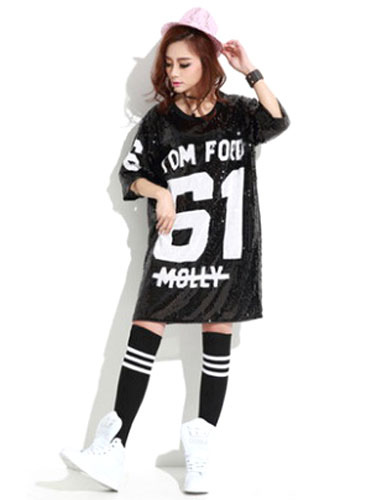 df9e335ac30 Sequined Dance Costumes Black Printed 2019 Hip Hop Clothing Dance  Costume-No.1 ...