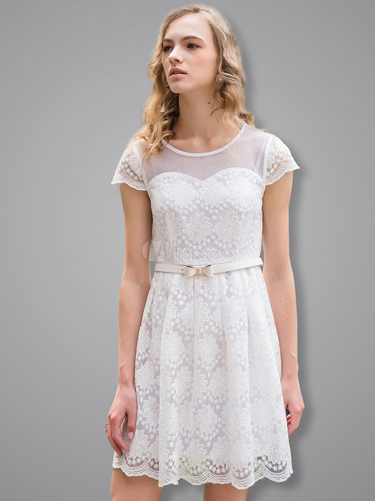 Buy White Lace Dress Round Neck Cap Sleeve Pleated Skater Dress With Sash for $49.99 in Milanoo store