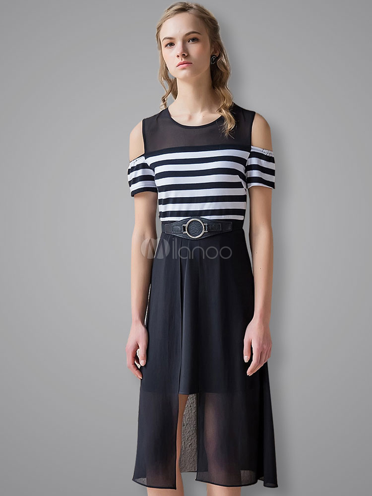 Buy Black Skater Dress Round Neck Short Sleeve Cold Shoulder Striped Flare Dress for $33.24 in Milanoo store