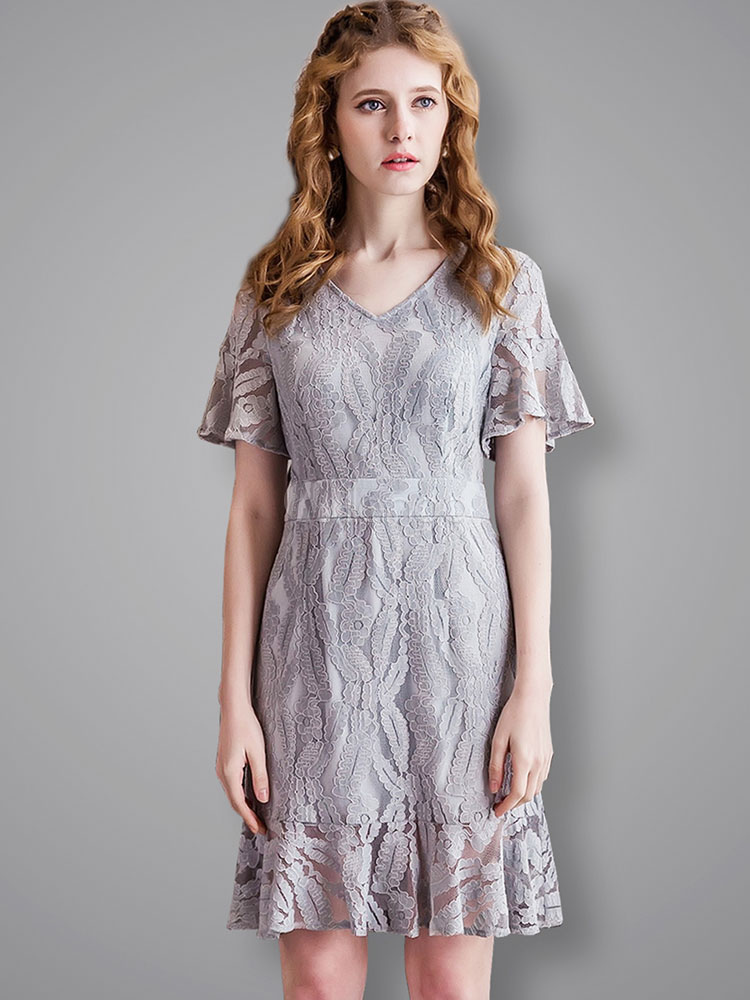 Buy Women's Lace Dress V Neck Short Flare Sleeve Pleated Frill Illusion Blue Short Skater Dress for $33.24 in Milanoo store