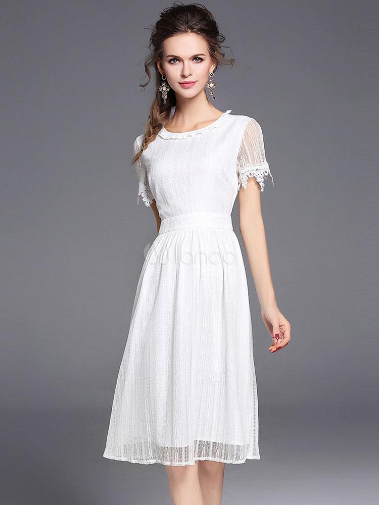 Lace White Dress Short Sleeve Women s Summer Skater Dresses-No. ... cfa19f4fe