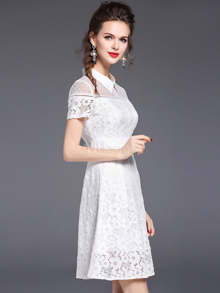 ... Lace Shirt Dress White Short Sleeve Illusion Women s Summer Skater  Dresses-No. ... df7ee9db3