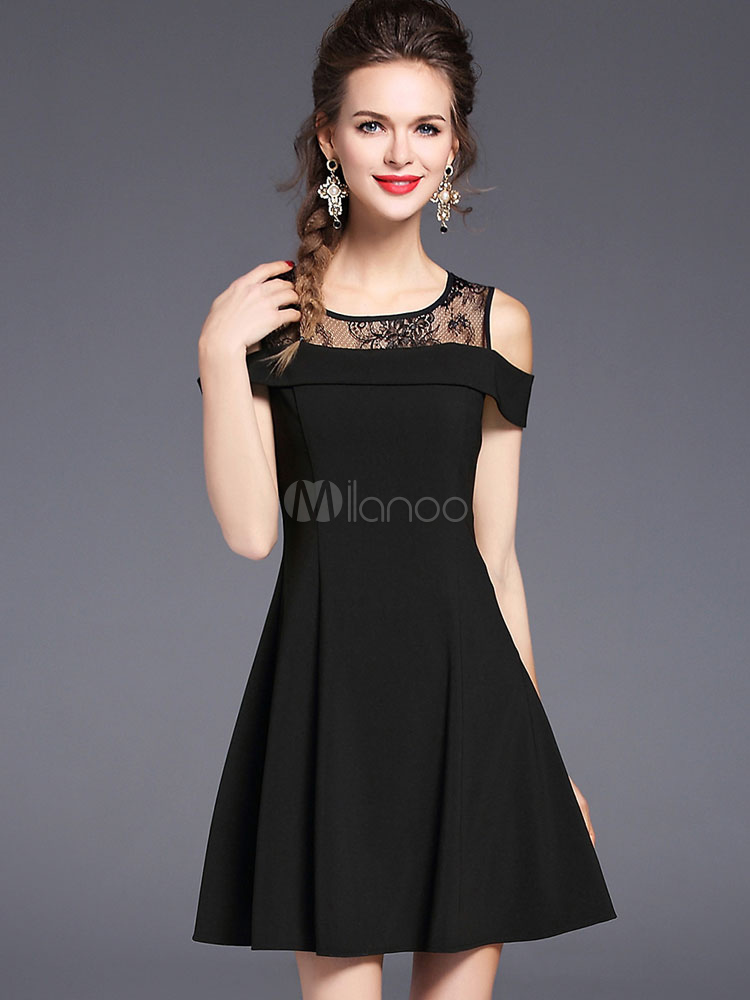 35e68b20ad Black Skater Dress Round Neck Short Sleeve Cold Shoulder Pleated Short Dress-No.1  ...