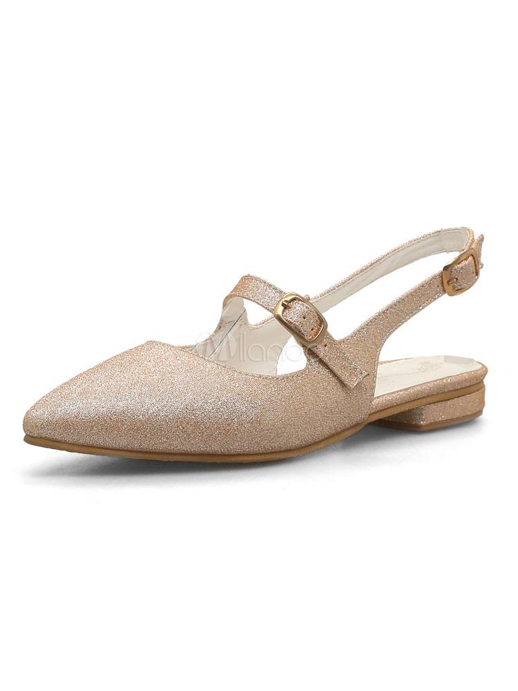Zapatos planos Planos con cinta ajustable de puntera puntiaguada para mujer estilo moderno Color liso para pasar por la noche DL4Nm
