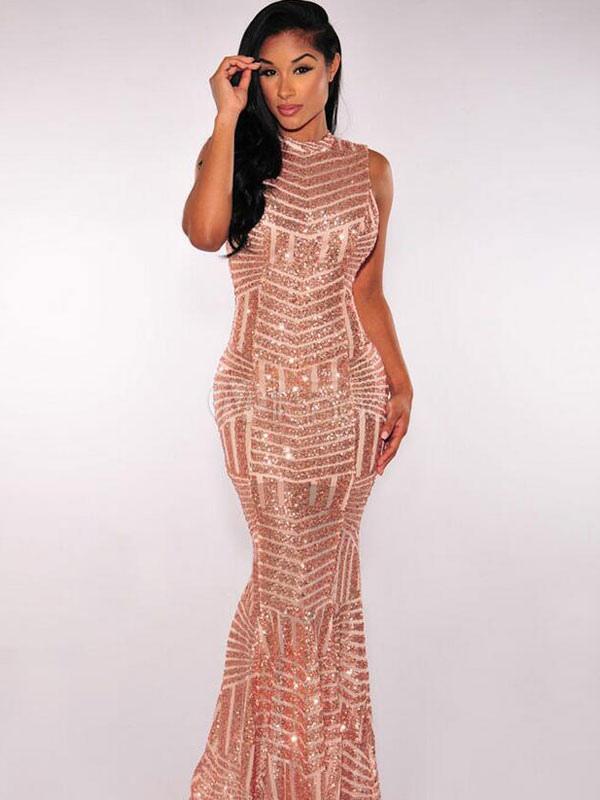 Buy Golden Maxi Dress Sequins High Collar Sleeveless Cut Out Women's Shaping Long Mermaid Dress for $53.99 in Milanoo store