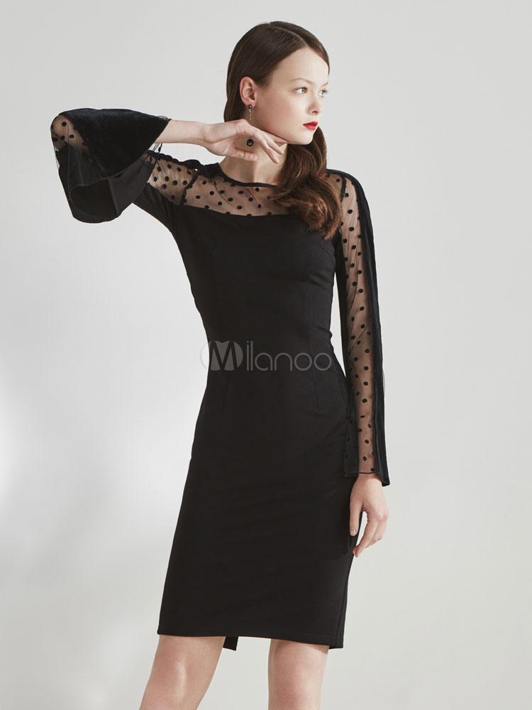 Buy Black Bodycon Dress Lace Velvet Polka Dot Round Neck Bell Sleeve Semi Sheer Midi Wrap Dres for $31.49 in Milanoo store