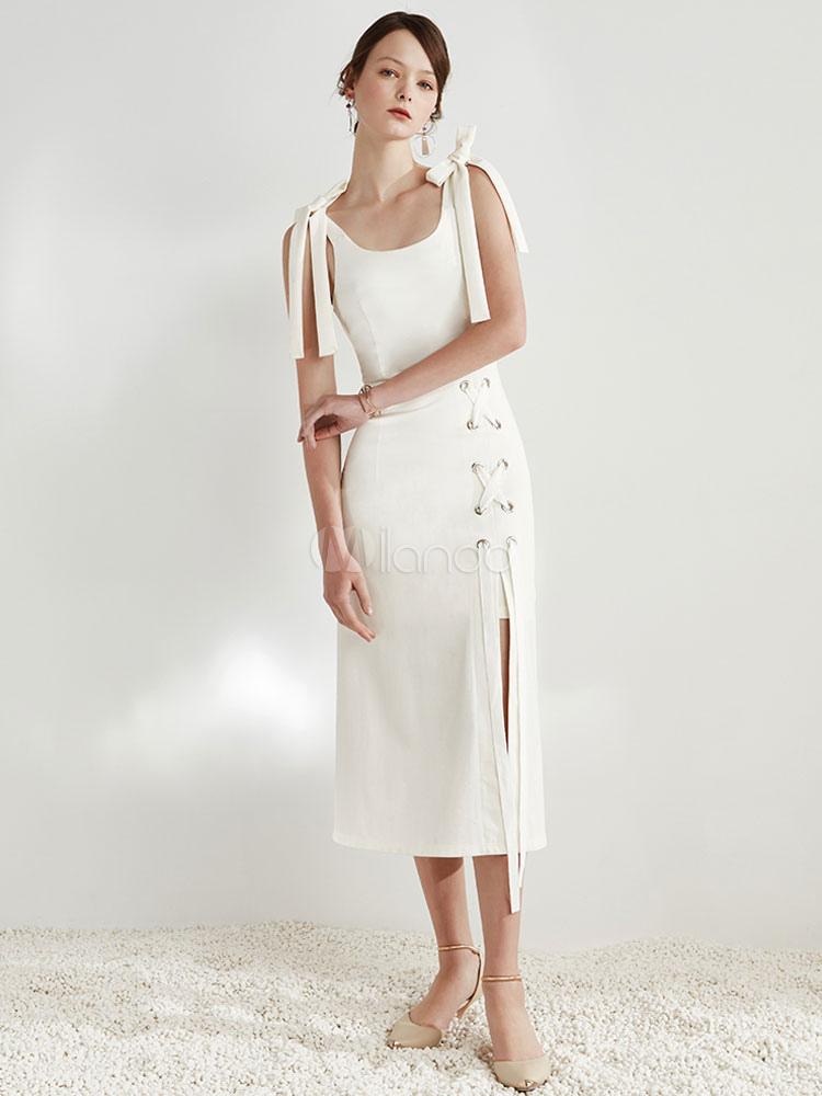 cheaper 3d48f e5dff Vestito bianco lungo in metallo Dettagli U Neck Strappy Tie maniche senza  maniche in raso abito lungo femminile elegante