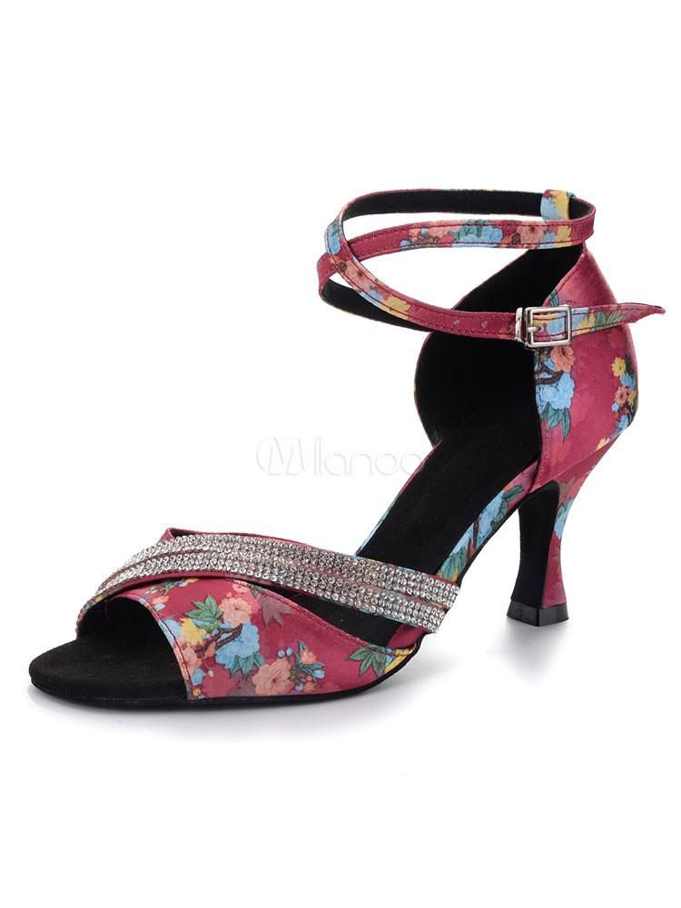 Zapatos de bailes latinos de satén negros Tacón bobina para baile de punter Peep Toe rKXxLmOG