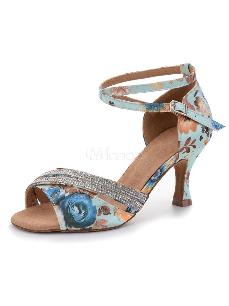 Zapatos de bailes latinos de punter Peep Toe Tacón bobina de satén para baile x5iDQyV