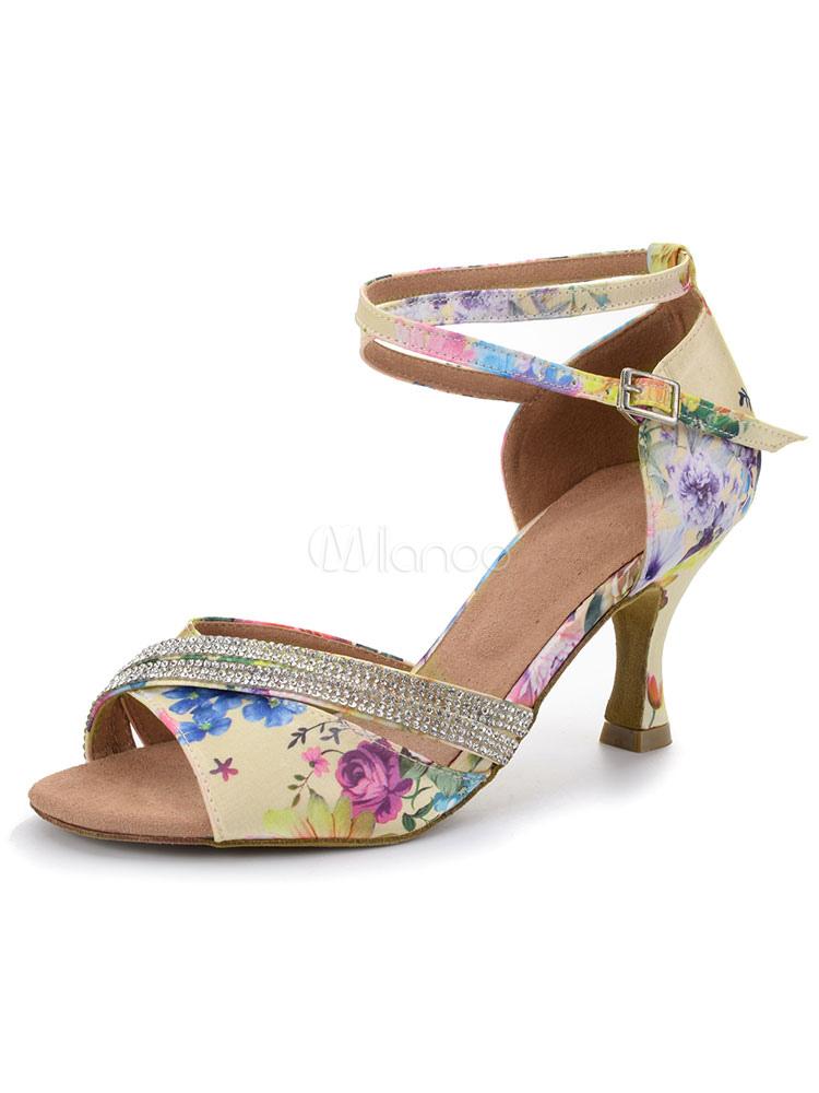 Zapatos de bailes latinos de satén con lentejuela Tacón bobina para baile de punter Peep Toe efI4NZ