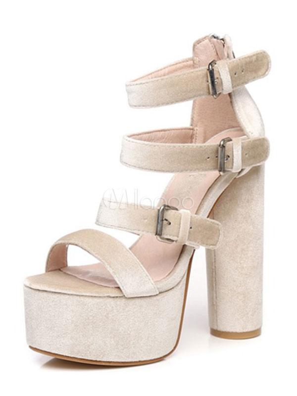 High Heel Sandals 2018 Platform Velvet Buckle Detail Strappy Chunky Heel Sandal Shoes