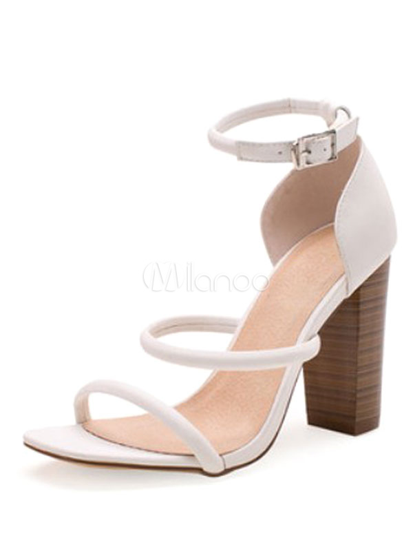 Buy High Heel Sandals White Open Toe Chunky Heel Ankle Strap Sandal Shoes for $39.89 in Milanoo store