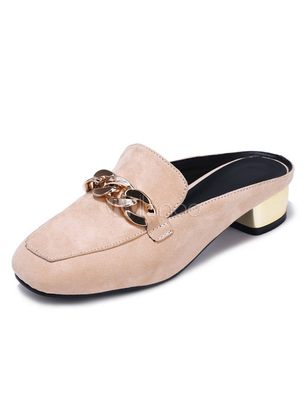 4969f6013ca8 Apricot Mule Loafers Suede Square Toe Metal Detail Backless Slip On  Slippers-No.1 ...