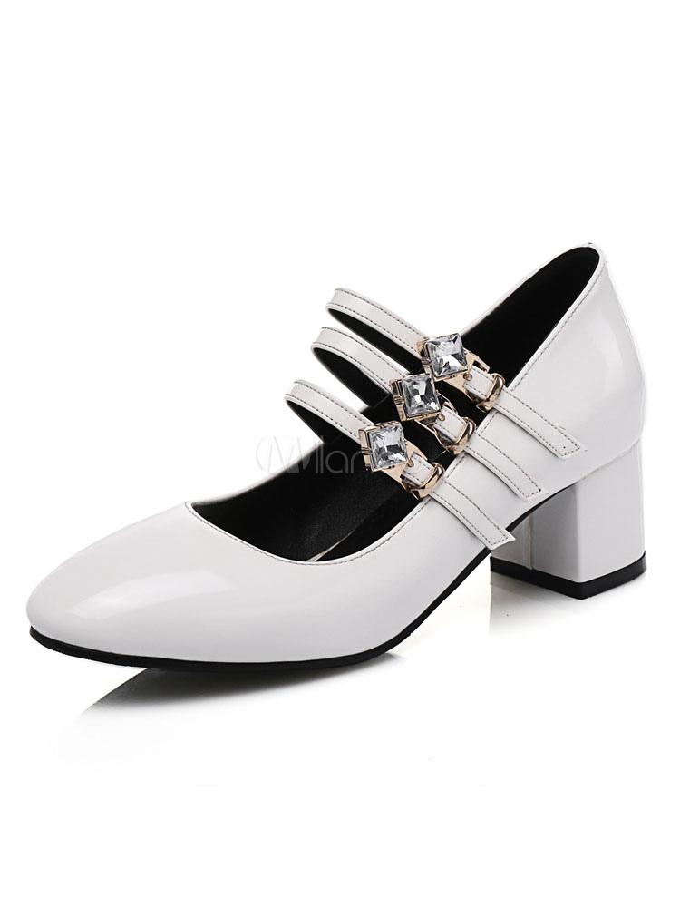 Zapatos de tacón medio Charol PU Color liso estilo moderno LDg4rcJdmn