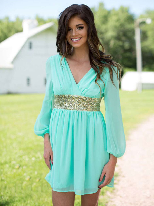 Buy Chiffon Summer Dress Mint Green V Neck Long Sleeve Sequined Sash Short Dress For Women for $23.74 in Milanoo store
