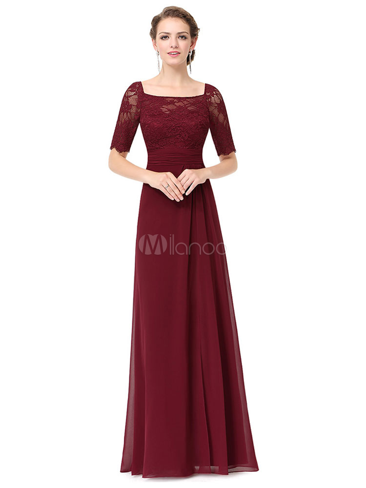 Buy Burgundy Maxi Dress Sequined Neck Half Sleeve Pleated Long Dress For Women for $44.99 in Milanoo store
