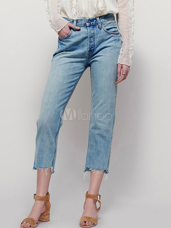 Buy Blue Denim Jeans Distressed Women's Straight Leg Cropped Pants for $26.99 in Milanoo store