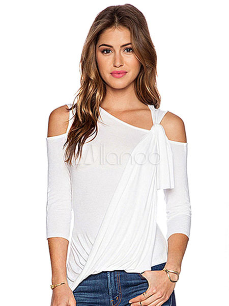 White T Shirt Women's Designed Neckline 3/4 Length Sleeve Cut Out Slim Fit Casual Top