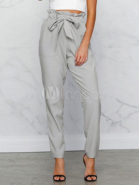 Paper Bag Pants Women Grey Drawstring Cropped Pants Cheap clothes, free shipping worldwide