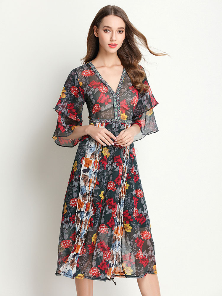Buy Boho Skater Dress Chiffon Floral Print V Neck Half Sleeve Layered Ruffles Pleated Flare Dress for $38.98 in Milanoo store
