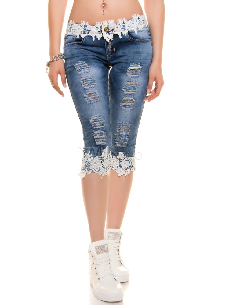 Cropped Ripped Jeans Women's Skinny Fit Lace Edge Denim Pants Cheap clothes, free shipping worldwide