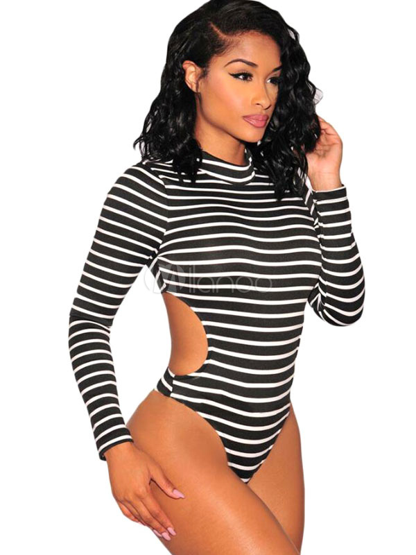 White Sexy Bodysuit In Stripe High Collar With Cut Out Detail Cheap clothes, free shipping worldwide