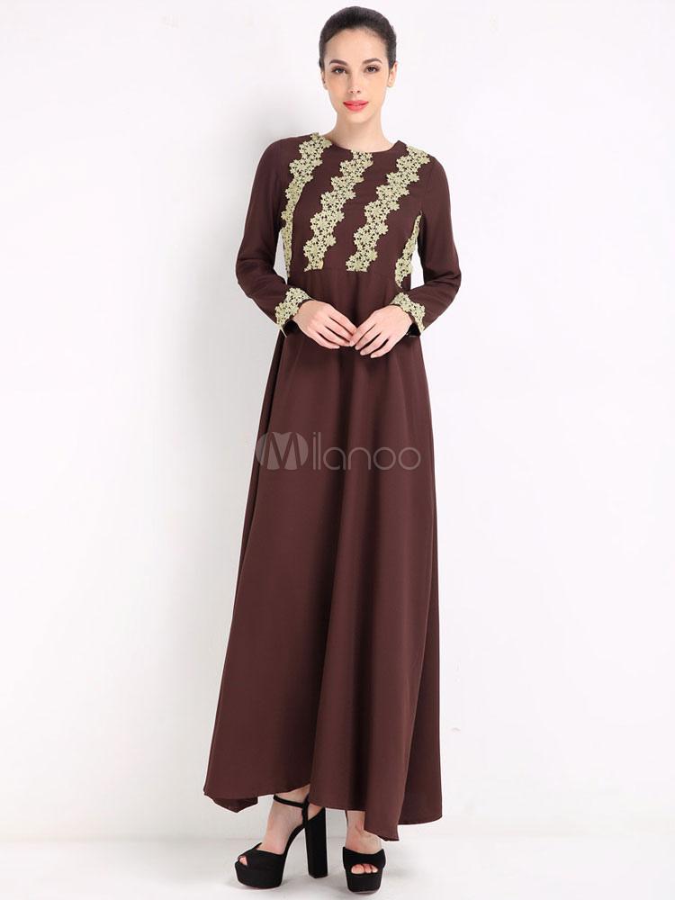 robe longue en coton avec dentelle col rond. Black Bedroom Furniture Sets. Home Design Ideas
