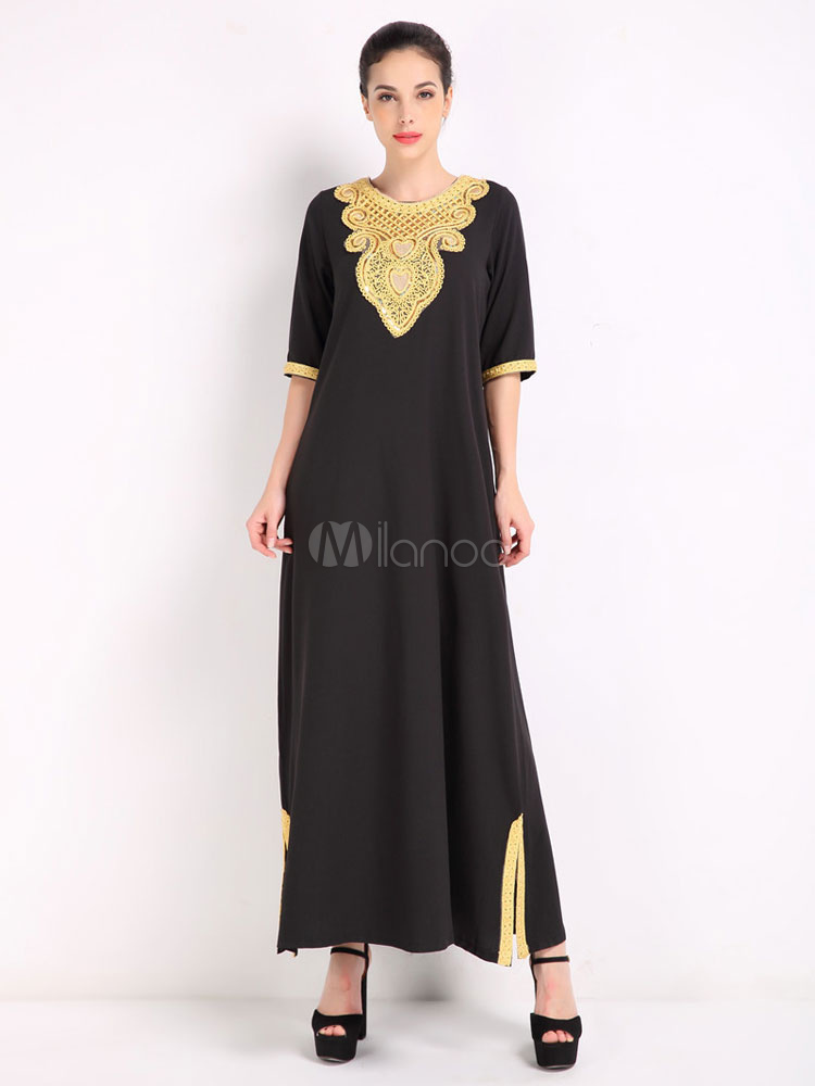 Buy Cotton Maxi Dress Lace Round Neck Half Sleeve Slit Pleated Women's Black Long Dress for $31.49 in Milanoo store