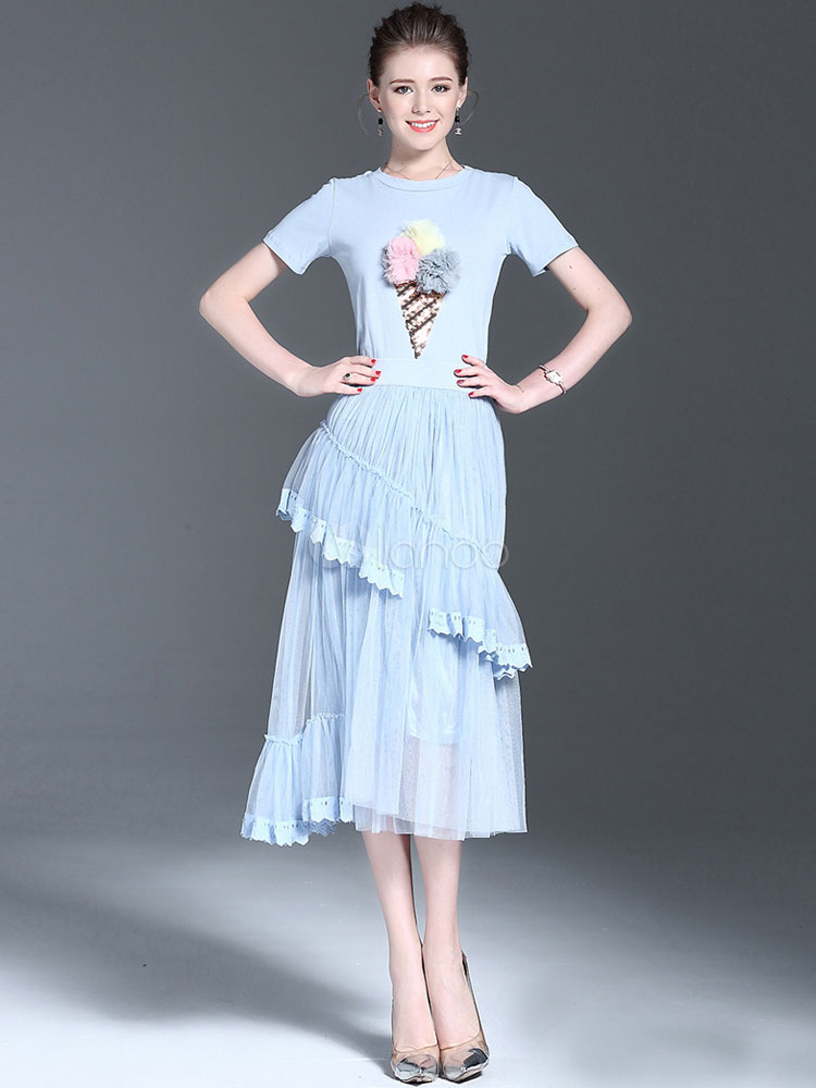 Buy 2 Piece Skirt Set Blue Round Neck Printed Short Sleeve Top With Skirt for $37.99 in Milanoo store