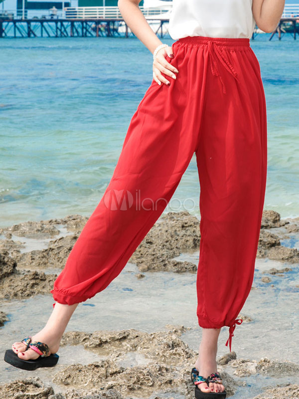 Buy Wide Leg Pants Chiffon High Waisted Drawstring Loose Leg Women's Cropped Bloomers for $23.74 in Milanoo store