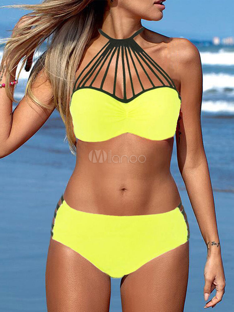 Two Piece Swimsuit Neon Orange Halter Sleeveless Cut Out Bra With High Waist Panties