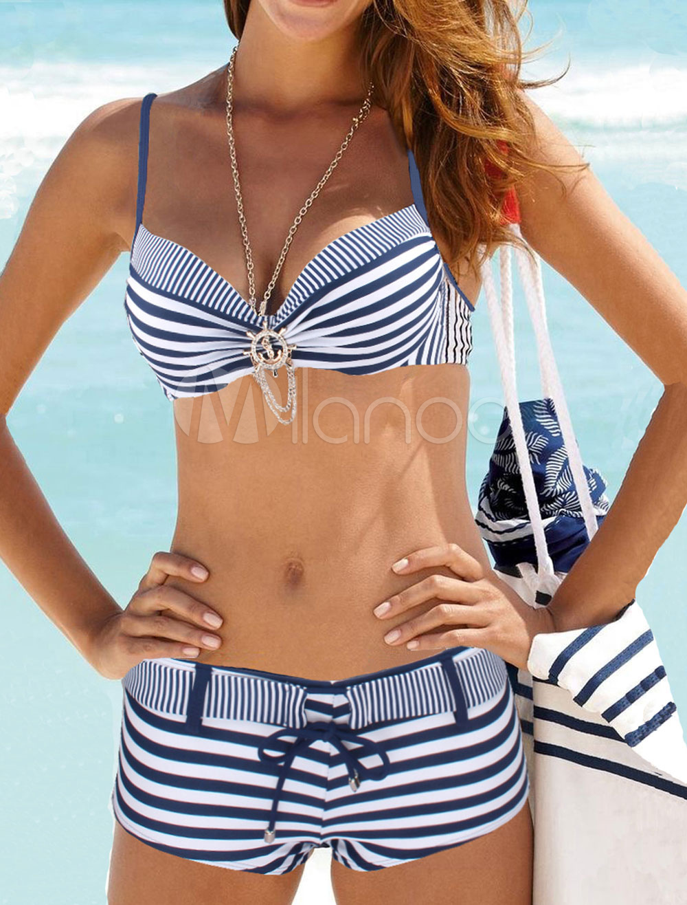 2 Piece Swimsuit Dark Navy Spaghetti Straps Sleeveless Striped Bikini Top With High Waist Panties