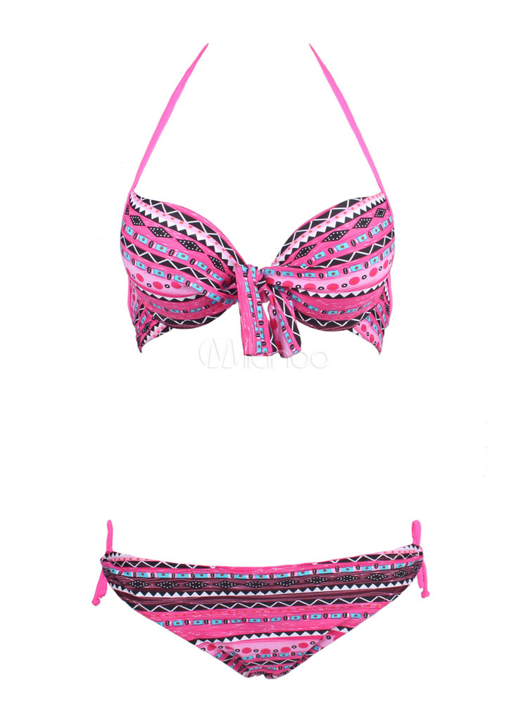 Bikini Bathing Suit Peach Pink Geometric Print Knotted Halter Strappy Tie Sexy 2 Pieces Swimsuit