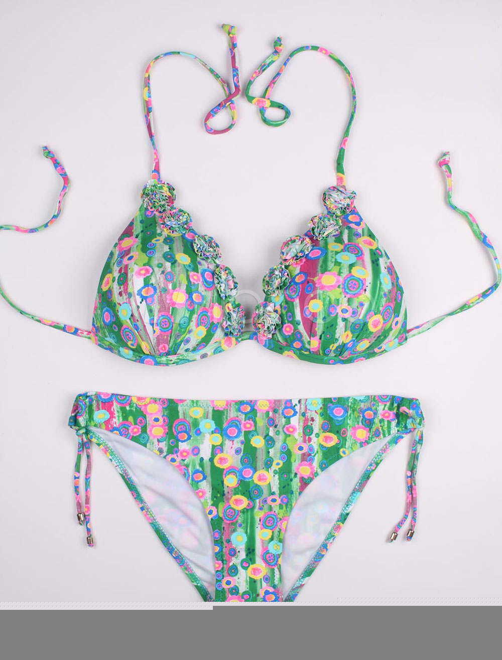 Buy Green Bikini Set Halter Floral Print Beach Swimsuit Women's 2 Piece Bathing Suits for $26.99 in Milanoo store