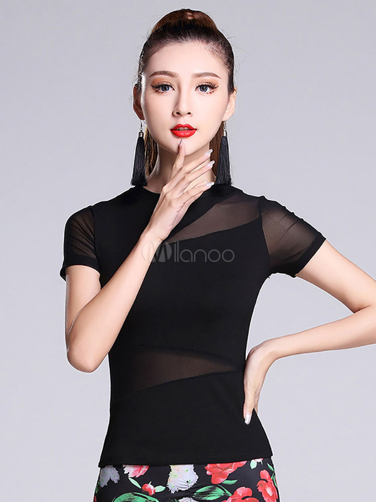 Buy Latin Dance Costume Black Short Sleeve Semi-Sheer Dance Costumes For Women for $24.99 in Milanoo store