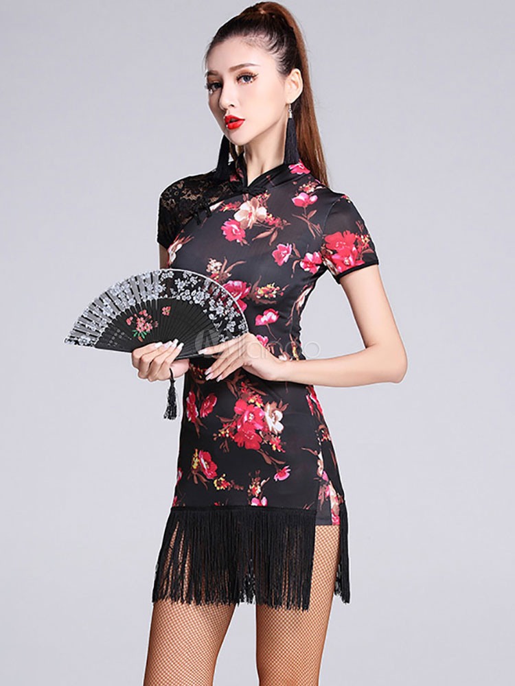 Buy Latin Dance Costume Black Short Sleeve Floral Printed Dance Costumes With Tassels for $53.19 in Milanoo store