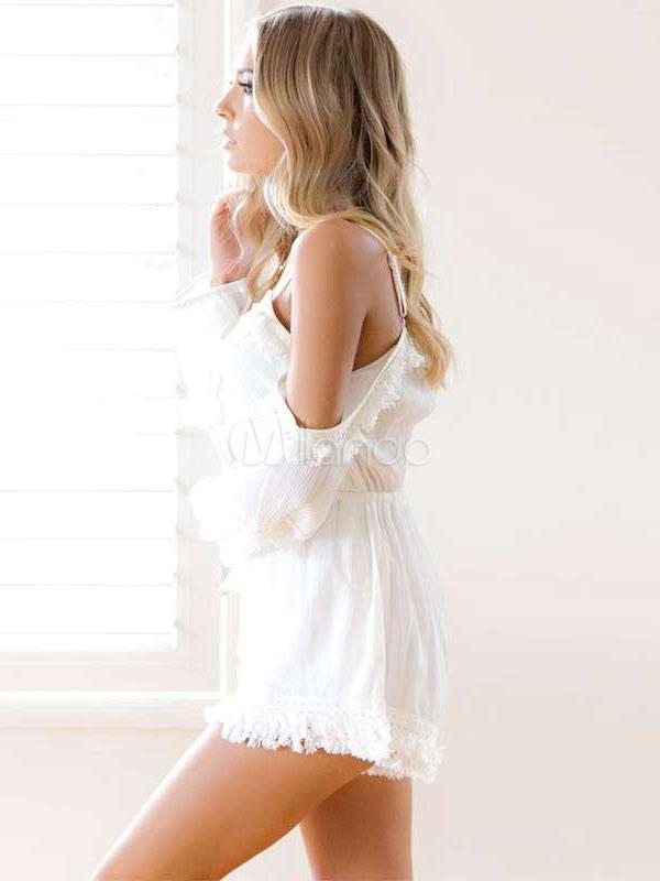 f451b0fb132dff ... Women's White Romper Cold Shoulder Lace Trim Long Sleeve Playsuit-No.  ...