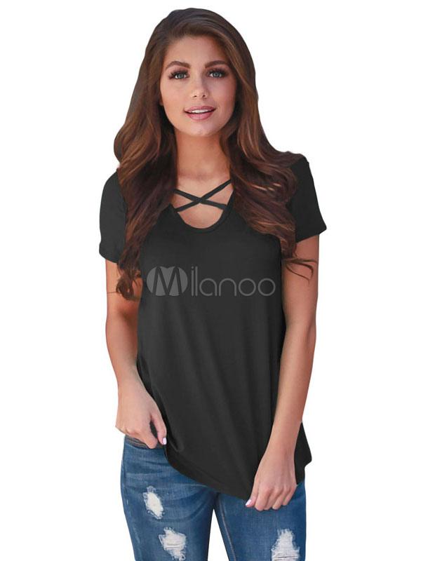 Buy Women's T Shirt Orange U Neck Short Sleeve Criss Cross Patchwork Casual Top for $14.24 in Milanoo store